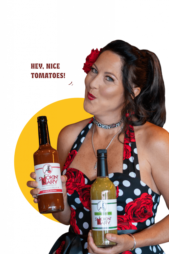 Laurie Nadeau, the girl in the polka dot dress holding smokin' mary bottles, to make the best bloody mary at home